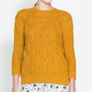 Zara Knit Cable Long Sleeve Sweater Mustard Small